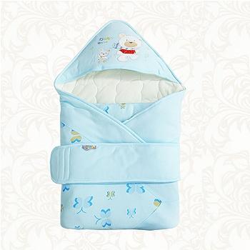 中国•优奇新生儿熊宝宝抱被 蓝