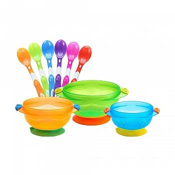 美国•munchkin 满趣健吸盘碗婴儿勺套装