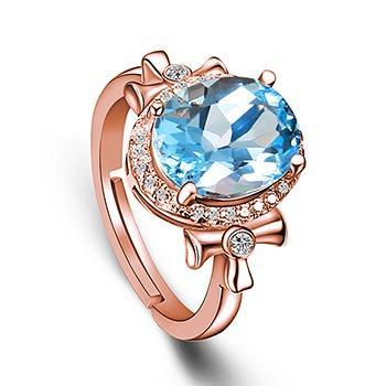 蓝色星海925银镶嵌托帕石戒指可伸