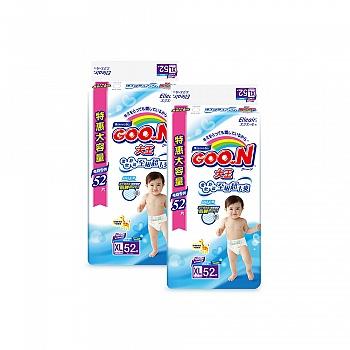 日本•GOO.N® 大王环贴式纸尿裤 维E系列 XL52片 电商专供*2包