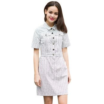 欧美时尚百搭短袖连衣裙白色