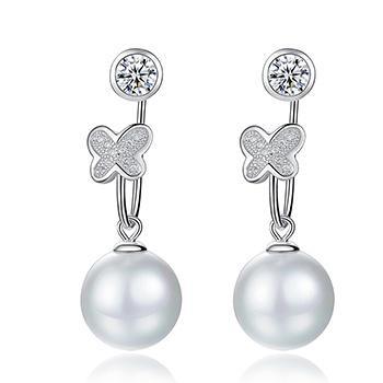 漂亮百合 925银贝珠+珍珠耳坠 蝴蝶