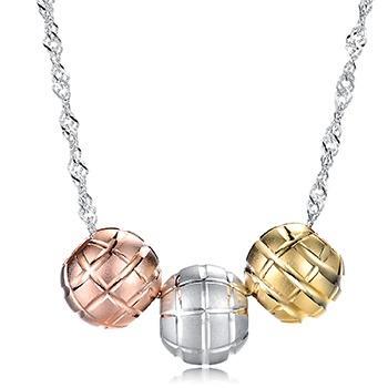 漂亮百合 S925银三色珠套链 缤纷