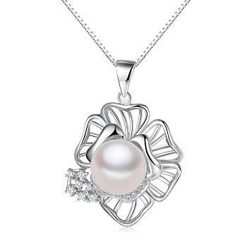 漂亮百合925银镶淡水珍珠吊坠项链