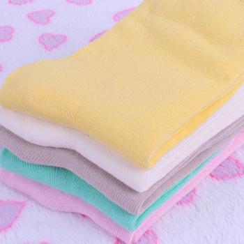 赛棉 5双装纯色中筒棉质女袜B款