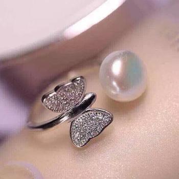 漂亮百合 925银镶淡水珍珠戒指