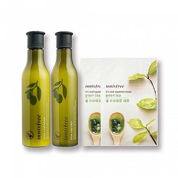 韩国•悦诗风吟橄榄油肤质提升水乳特别套组 加赠真萃鲜润面膜-绿茶2片