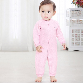 中国•优奇 婴儿彩棉前开保暖哈衣 红