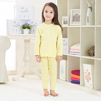 中国•优奇纯棉男女童内衣套装 月桂黄