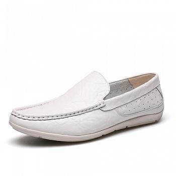 中国•男士休闲真皮英伦豆豆鞋 26102白色