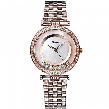 中国•卡罗莱玫瑰金钢带超薄石英女腕表