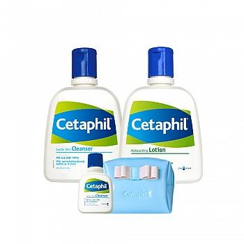 加拿大•丝塔芙(Cetaphil)温和洁润套装(洁面乳237ml+保湿润肤乳237ml+化妆包1件+洁面乳29ml)