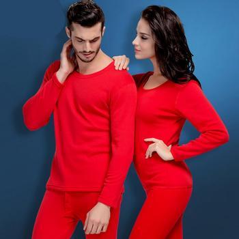 浪莎情侣加绒加厚大红保暖内衣