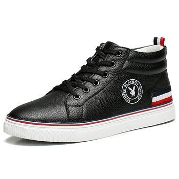 男鞋高帮板鞋潮流韩版休闲鞋黑色