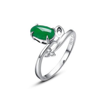 今上珠宝 18k金冰种 翡翠戒指