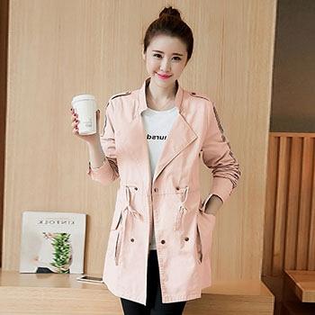 中国•蚕坊俪秋季长袖风衣粉色