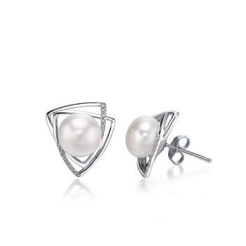今上珠宝 925银珍珠耳钉耳饰女