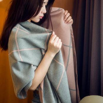 中国•沃之沃 仿羊绒百搭大格子围巾