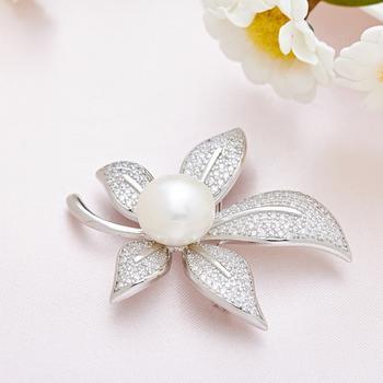漂亮百合 925银珍珠胸针  枫叶