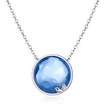 今上珠宝 925银仿蓝水晶萌芽吊坠