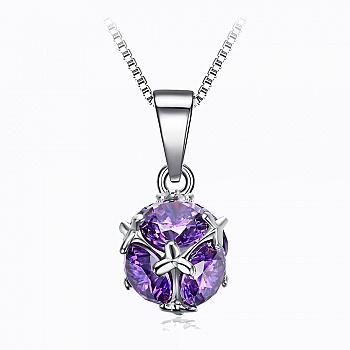 中国•紫色旋转水晶球925银项链