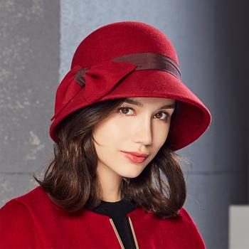 kenmont冬女士复古保暖毛毡帽2599