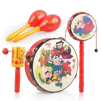 奥贝比吉祥拨浪鼓5件套摇铃玩具
