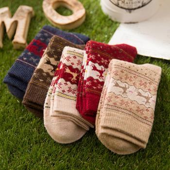 赛棉兔羊毛保暖小鹿女袜 5双装
