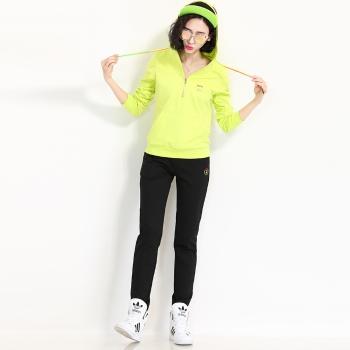 自由呼吸休闲跑步运动套装女柠黄