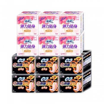日本•苏菲SOFY(超熟睡柔棉感410夜用 4片+弹力贴身纤巧日用10 片)*6包