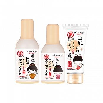 中国•MISSFACE豆乳水漾保湿三件套(保湿水100ml+亮肤乳100ml+洁颜乳100g)