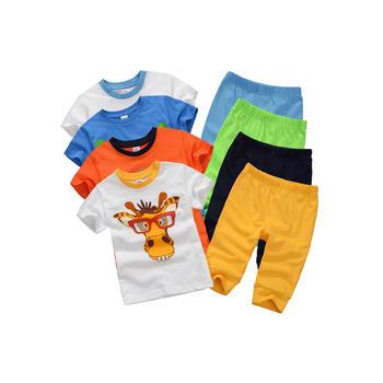 Minizone儿童夏季短袖T恤七分裤套装
