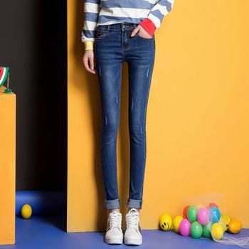 可奈丽莎春秋款弹力显瘦修身牛仔裤铅笔小脚裤女长裤