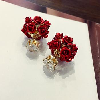 中国•IKEWA浪漫玫瑰花耳钉