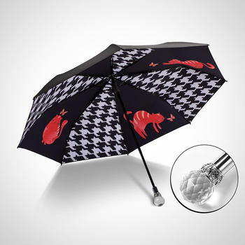 中国•德国iRain三折千鸟格水晶头太阳伞