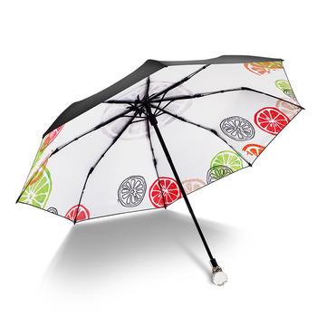德国iRain三折夏日柠檬白太阳伞