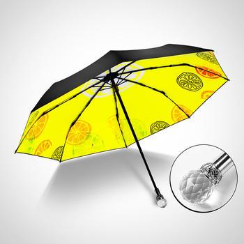 德国iRain三折夏日柠檬黄太阳伞