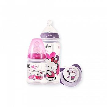 德国•NUK150ML/300ML宽口PP彩色Hello Kitty奶瓶及安抚奶嘴组合装(带初生型硅胶中圆孔奶嘴及安抚奶嘴