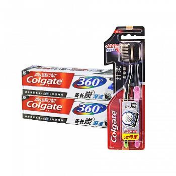 美国•高露洁(Colgate)备长炭套装(备长炭深洁牙膏180g*2+纤柔备长炭牙刷双支装)