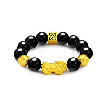 阿梵尼 转运珠貔貅黄金手链12mm