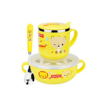 费雪儿童碗筷子勺子套装黄色