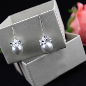 漂亮百合925银圆珠长款耳线耳坠 花朵