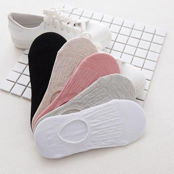赛棉纯色隐形防滑硅胶女船袜 5双