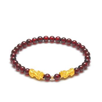 阿梵尼 石榴石貔貅黄金手链