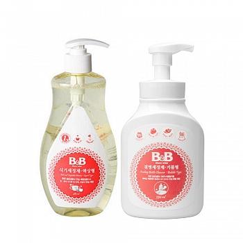 韩国•保宁清洁类套装(奶瓶清洁剂泡沫型550ml+餐具果蔬清洁剂480ml)