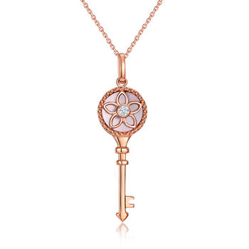 今上珠宝 18K金钥匙吊坠 项链女