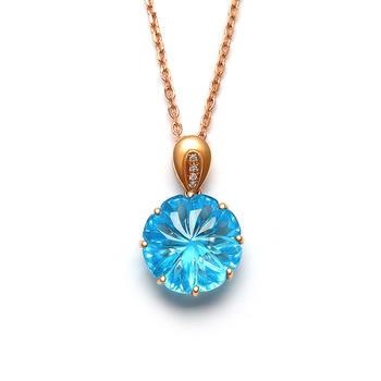 今上珠宝18K金托帕石钻石吊坠女