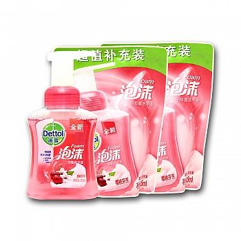 中国•Dettol 滴露 泡沫抑菌洗手液樱桃芬芳250ml+225ml*2袋