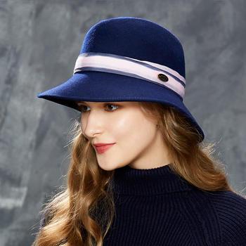 卡蒙全羊毛纯色礼帽毛毡帽子女