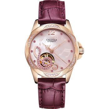 卡罗莱全自动机械镶钻女士手表